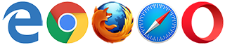 Empfohlene Browser: Microsoft Edge, Google Chrome, Mozilla Firefox, Safari, Opera
